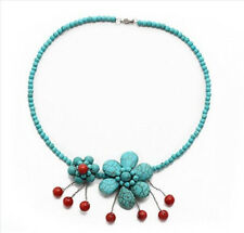 Stunning Natural Red Coral and Turquoise Gemstone Necklace Choker