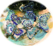 1 großer Anhänger Lampwork Glas Schmetterling 55 mm blau Spirale handmade