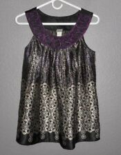 Daytrip Sleeveless Tank Top Purple, Black, Silver Geo Floral Lacy Purple Trim M