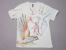 DESIGN BY HUMANS MENS WHYBALL BIRD DRAWING GRAPHIC TAN T-SHIRT SIZE LARGE RARE
