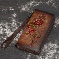 Genuine Leather Zipper Purse Clutch Wrist Bag Floral Money Women Long Wallet