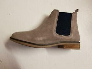Womens Cipriata L732TS Pull-on Suede Flat Winter Chelsea Ankle Boots Mink/Navy