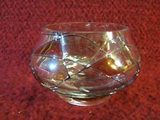 Party Lite Glass Votive / Tea Light Candle Holder with Stained Glass Look
