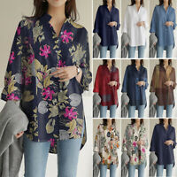 Womens Blouse Basic Long Sleeve Check Floral Baggy Down Tops Shirt Plus Size