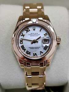 Rolex Datejust Pearlmaster 80328 29mm 18ct Yellow Gold 2000 MOP Ladies Rare(137)