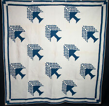 """Antique Quilt Tree Of Paradise Indigo Blue + White 77"""" x 75-1/2"""" Heavily Quilted"""