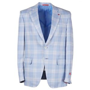 Isaia 'Soft Summer Delain' Sky Check Wool-Cashmere-Silk Sport Coat 40R (Eu 50)