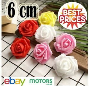 100 Pcs Large 6CM Foam Flowers Artificial Rose Heads Wedding Party Decor Bouquet