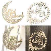 Wood Eid Mubarak Garland Hanging Pendant Muslim Ramadan Party Decor