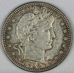 1916-D United States Barber Head Quarter - AU About Uncirculated Condition