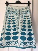 White Stuff Size 8 Turquoise Blue Patterned Skirt Cotton Floral A-Line Summer