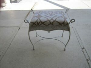 Vintage Cast Iron Bench Vanity Stool Side Seat Upholstered Seat