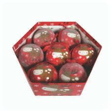 7 x Red Reindeer Christmas Tree Bauble Ornament Decorations Gift Storage Box