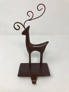 Rustic Cast Iron Reindeer Christmas Stocking Holder Hanger Metal Base