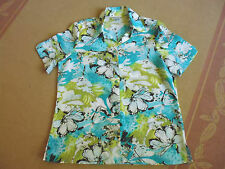 LADIES  BLUE FLORAL MULTI COLOURED SHORT SLEEVE POLYESTER TOP BY MILLERS SIZE 14