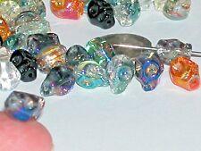 5pc Mix Lot Skull glass Beads vitrail rainbow Crystal head pendant charms 8x10mm