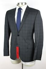 NWT HUGO BOSS RED LABEL Anion Hets Grey Plaid Wool 2Btn Flat Front Suit 50 40 S