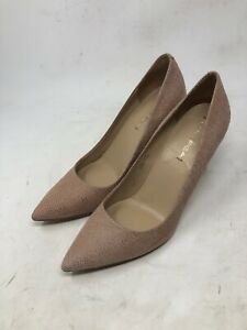 Via Spiga Siletto Heel Pumps Shoes 9M Lapis Brown Dotted Suede Leather Outsole