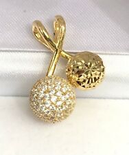 14K Solid Yellow Gold Cute Balls Charm/ Pendant & Cubic Zirconia 3.60 Grams