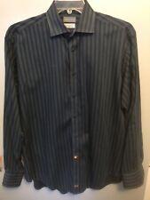 Thomas Dean Men's Long Sleeve Shirt Button Front Blue Striped Size Large