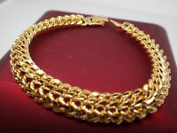 Mesdames 18ct  jaune 10mm Mesh womens mens bracelet en or 20 cm