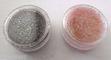 2 Nail Art Glitter Black & Tropical Rainbow Pink Holographic Sparkle Powder NEW!