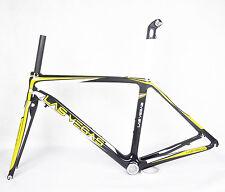50m BB30 Carbon Road Bike Frame Fork Race 700C 3k yellow glossy ISP Seatpost