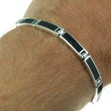 Black Onyx Rectangular links Solid Sterling Silver Bracelet, 17cm
