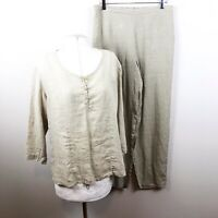 Flax Small Beige Two Piece Pants Top Set Lagenlook 100% Linen Stretch Solid B53