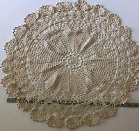 "Vtg Round Doily Large Centerpiece 21"" Pineapple Crochet Topper Handmade Lace #42"