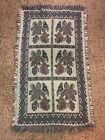 Vintage Tapestry Fringed Edges Throw Rug Floral Print EUC Clean Approx. 2x4 ft.
