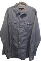 Ben Sherman Mens Oxford Shirt 2XL Blue Long Sleeve 100% Cotton Pockets Slim