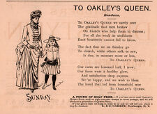 AD LOT OF 3 1886 ADS POEM OAKLEY SOAP NEWBURGH QUEEN MOTHER DAUGHTER RONDEAU