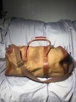 J. CREW Brown Tan Leather Duffle / Travel Bag / Weekender. - Has Wear Stains