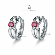 18k white gold gf made with Swarovski crystal huggies earrings cute rose red