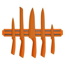 Orange Plastic Magnetic Stainless Steel Knife Holder Wall-Mounted Strip Rack