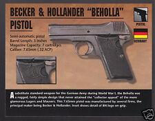 BECKER & HOLLANDER BEHOLLA PISTOL 7.65mm Germany Gun Classic Firearms PHOTO CARD