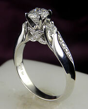 EGL Certified  F/G SI  1.00 Carat Total Weight Diamond Ring  .68 CT center