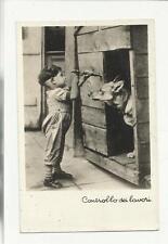 BELLA CARTOLINA formato piccolo controllo dei lavori bambino e cuccia con cane