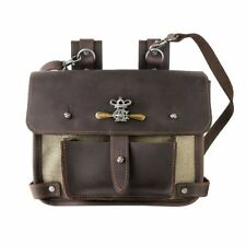 Alchemy Gothic Wing-Commanders Attache Leather and Canvas Pouch - Crossbody Bag
