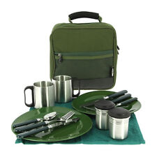 NGT Deluxe Camping Fishing Cutlery Bag Set with 2x Plates Knives Forks & Mugs
