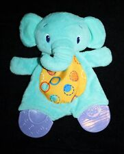 """Bright Starts ELEPHANT Blue Teether RATTLE Security Blanket 9"""" Soft Toy Crinkle"""