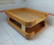 Vtg 1985 Eldon Woodline 6500 2 Tier Solid Oak Letter Tray Desk Organizer