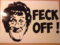 mrs brown funny rude fun joke vinyl car sticker rear window door tailgaters vw