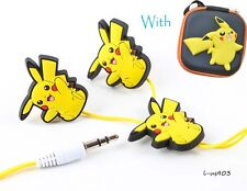 Earbud + Holder Case Pokemon Pikachu Earphone For Phone Mp3/4 3.5mm Fashion New