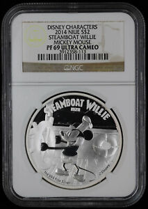 2014 Niue Silver 1oz Steamboat Willie NGC PF 69 UC Disney Mickey Mouse
