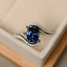 1.87 Ct Diamond Blue Sapphire Gemstone Rings 14K White Gold Ring Size 6,7,