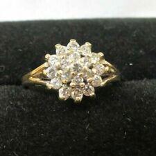 Beautiful 14K Yellow Gold Diamond Cluster Ring TCW ~ .35 Size 3.75 (3.1g)