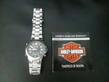 Rare 2005 Harley Davidson Bulova Men's Watch Stainless Steel Case Timepieces By