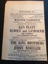 65-4 Ephemera 1960 Advert Margate Winter Gardens Ken Platt Rawicz Landauer